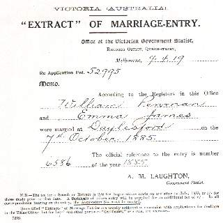 Penman / James Extract of Marriage Entry.