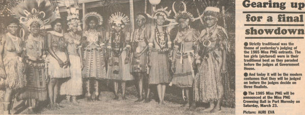 Miss PNG Contestants 1985